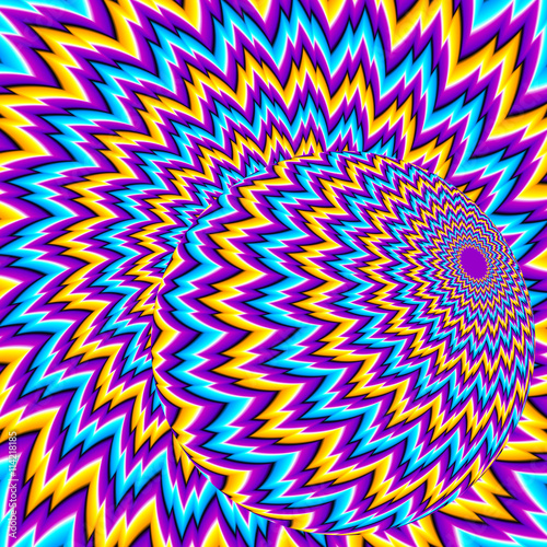 """""""Moving sphere on a colorful background (optical illusion ..."""