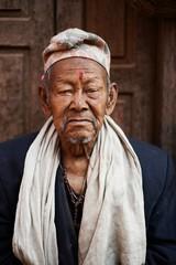 Portrait of senior man, Thamel, Kathmandu, Nepal