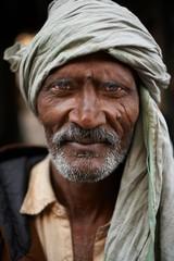 Portrait of man in turban, Thamel, Kathmandu, Nepal