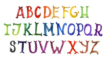 alphabet, abc, english, watercolor