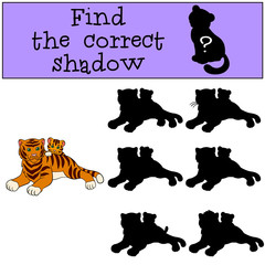 Children games: Find the correct shadow. Mother tiger lays with her little cute baby tiger.