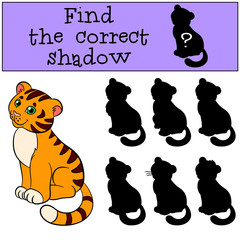 Children games: Find the correct shadow. Cute little baby tiger