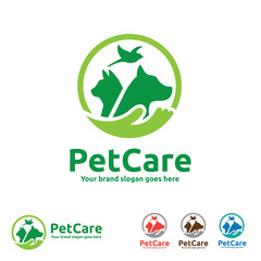 Pet Care Logo with Dog, cat and Bird Symbols