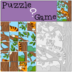 Education games for kids. Puzzle. Little cute tiger on the tree branch.