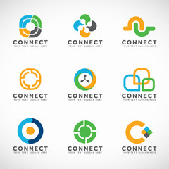 Circle Connect logo for business vector set design