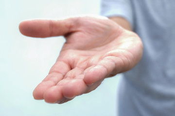 Asking human hand,Open palm hand gesture of male hand