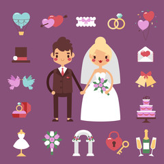 Traditional bride groom wedding icons set with engaged couple and bridal party accessories isolated. Vector illustration bride groom wedding love couple marriage dress. Groom wedding symbols.