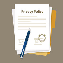 Obraz privacy policy document paper legal aggreement signed stamp - fototapety do salonu