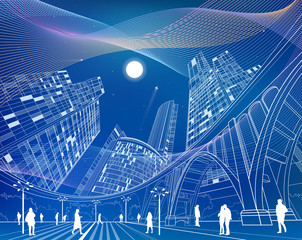 Big bridge, night city on background, industrial and infrastructure illustration, white lines landscape, people walk on the square, neon town, wave lines, vector design art