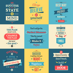 Success Quotes Colored Isolated Posters