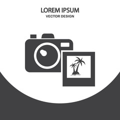 Camera and photo icon on the background