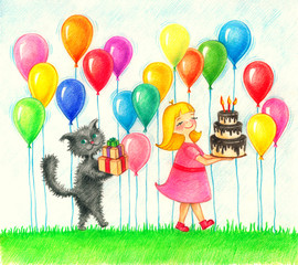 Child`s picture of girl in pink dress and cat with gifts and cake on a background color balloon going to the birthday by the color pencils