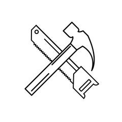 Hammer and saw linear icon. Carpenter service. Vector illustrati