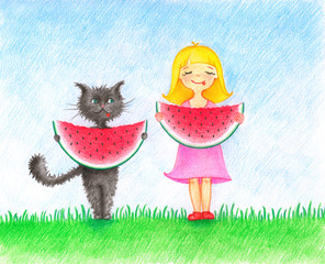 Child`s picture of girl in pink dress and cat standing on a lawn and eating a water melon by the color pencils