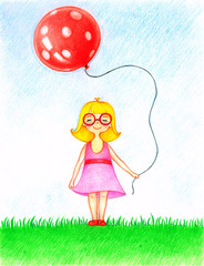 Child`s picture of girl in pink dress standing on a lawn with a red balloon by the color pencils.