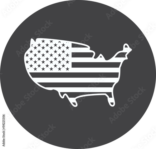 America Usa United States Map Icon Sign Symbol Silhouette Concept - Us map white silhouette