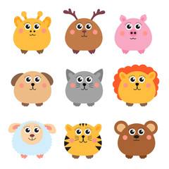 Set of cute animals rounded shape. Round animals. Vector illustration