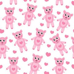 Cute cartoon pig puppy seamless texture. Children's background fabric. Vector illustration