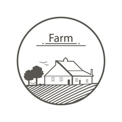 Farm logo. Template with farm vector illustration