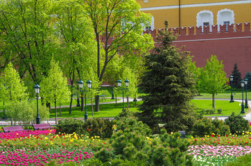 MOSCOW, RUSSIA - May, 2016: Alexander Garden and Moscow kremlin