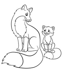 Coloring pages. Wild animals. Mother fox with her little cute baby fox