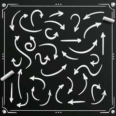 Chalkboard sketch arrows set sign. Arrow . Vector illustration