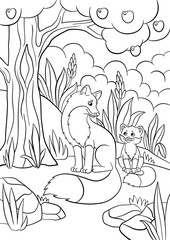 Coloring pages. Wild animals. Mother fox with her little cute baby