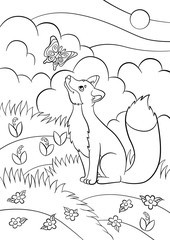 Coloring pages. Wild animals. Little cute fox looks at the butterfly