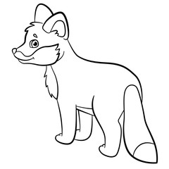 Coloring pages. Wild animals. Little cute baby fox smiles.