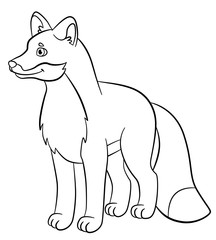Coloring pages. Wild animals. Little cute fox smiles.