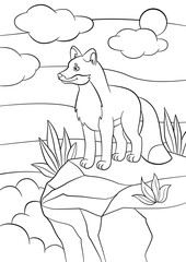 Coloring pages. Wild animals. Little cute fox stands and smiles.