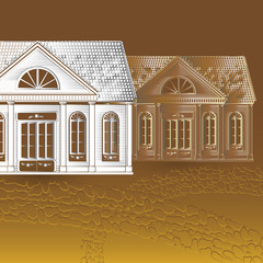 Vector illustration with old houses, stone pathway on brown background.