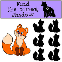 Children games: Find the correct shadow. Little cute baby fox
