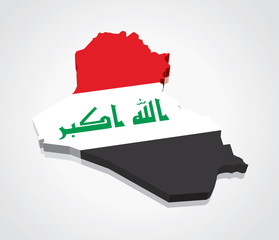 3D vector Flag Map of Iraq