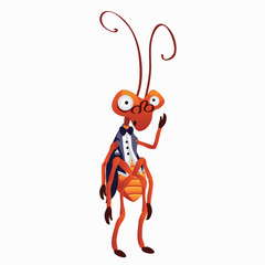 Funny cricket in tuxedo. Vector isolated character
