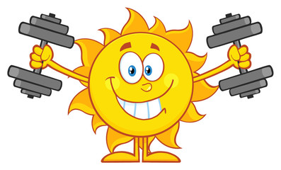 Smiling Sun Cartoon Mascot Character Working Out With Dumbbells
