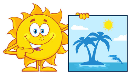 Talking Sun Cartoon Mascot Character Pointing To A Poster Sign With Tropical Island