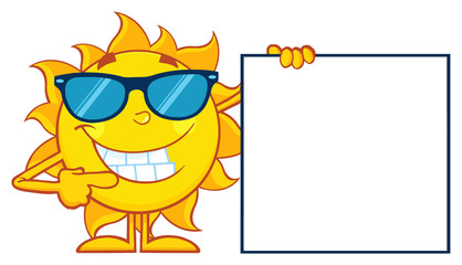 Talking Sun Cartoon Mascot Character With Sunglasses Pointing To A Blank Sign