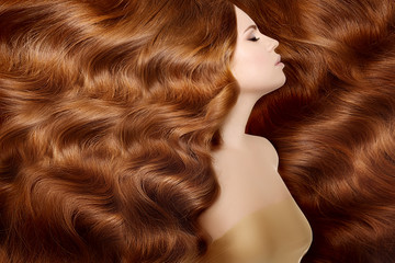 Model with long red hair. Waves Curls Hairstyle. Hair Salon. Upd