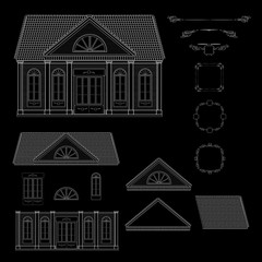 Vector set of isolated line details retro style house.