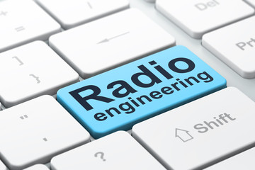 Science concept: Radio Engineering on computer keyboard background