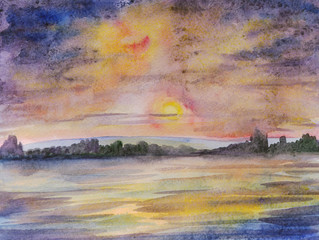 Sunset over the river, watercolor painting