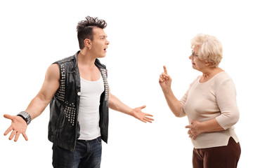 Angry punk arguing with grandmother