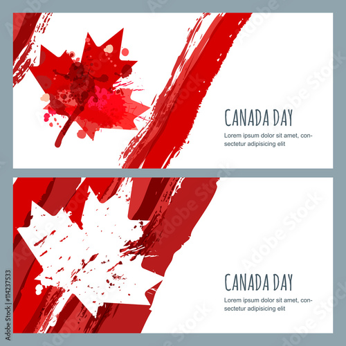 vector watercolor banners and backgrounds 1st of july happy canada day watercolor hand drawn. Black Bedroom Furniture Sets. Home Design Ideas