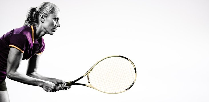 Composite image of tennis player playing tennis with a racket