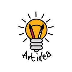 Art idea creative bulb object line logo symbol and sign.