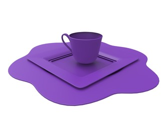 3d illustration of cup on plates. icon for game web. white background isolated.