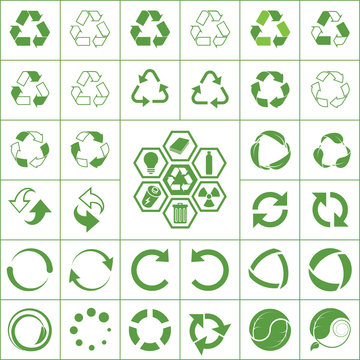 recycle green ecology icons set