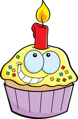 Cartoon illustration of a cupcake with a candle.