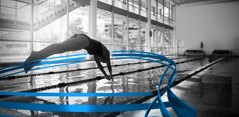 Composite image of woman diving in swimming pool